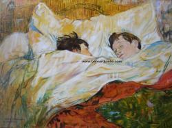 """""""Dans le lit"""" 60/80cm Copie de tableau de T. Lautrec"""